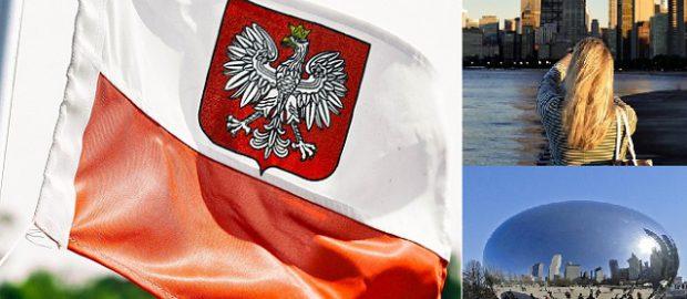 Trzy zdjęcia - polska flaga, kobieta oraz chicago