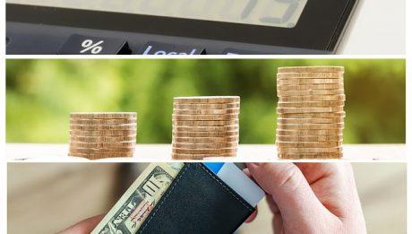 Kalkulator z pieniędzmi i portfelem